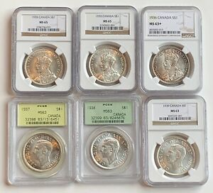 COLLECTION OF 50 HIGH GRADE CANADA DOLLARS 1935 1967 NGC PCGS