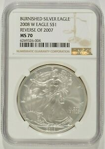 2008 W BURNISHED AMERICAN SILVER EAGLE REVERSE OF 2007 $1 NGC MS70 6269326 004