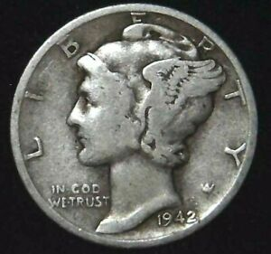 1942 P 10C MERCURY DIME 90  SILVER 21OOL0325 70 CENTS SHIPPING