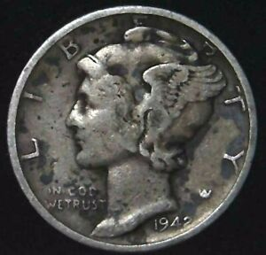 1942 S 10C MERCURY DIME 90  SILVER 21OOL0325 70 CENTS SHIPPING