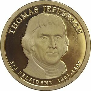 2007 S PRESIDENTIAL DOLLAR THOMAS JEFFERSON GDC PROOF 70 CENTS SHIPPING