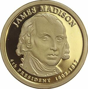 2007 S PRESIDENTIAL DOLLAR JAMES MADISON GDC PROOF 70 CENTS SHIPPING