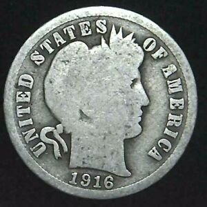1916 P 10C BARBER DIME 90  SILVER 21OCC0726 2 70 CENTS SHIPPING