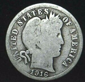 1916 P 10C BARBER DIME 90  SILVER 21OCC0726 3 70 CENTS SHIPPING