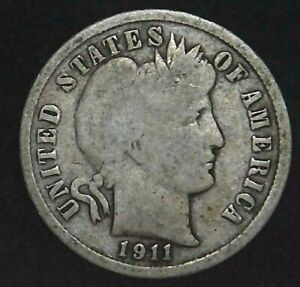 1911 D 10C BARBER DIME 90  SILVER 21OCC0726 70 CENTS SHIPPING