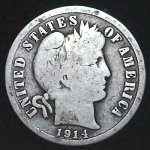 1914 D 10C BARBER DIME 90  SILVER 21OCC0726 70 CENTS SHIPPING