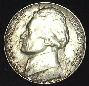 1945 D 5C JEFFERSON WAR NICKEL AU 35  SILVER 21UCT0110 70 CENTS SHIPPING