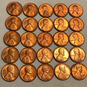 HALF ROLL OF 25 RED BU 1954 S LINCOLN WHEAT CENTS.