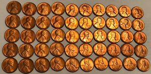 ROLL OF 50 GEM RED BU 1954 S LINCOLN WHEAT CENTS.  2