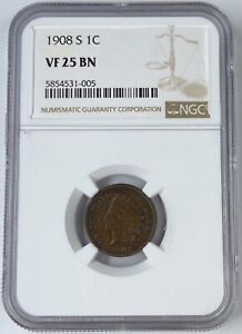 1908 S 1C INDIAN HEAD CENT NGC VF25 BN