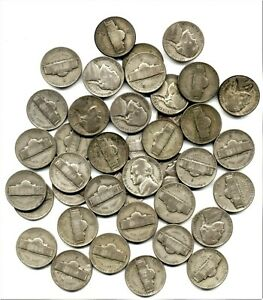 ROLL OF 40 JEFFERSON 35  SILVER NICKELS AVERAGE CIRCULATED 1942 TO 1945