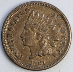 1861 INDIAN HEAD CENT ABOUT UNCIRCULATED