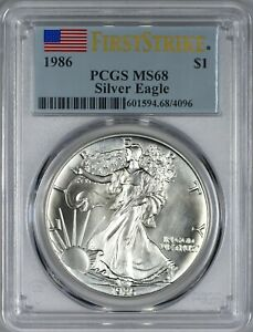 1986 AMERICAN SILVER EAGLE PCGS MS68    FIRST STRIKE