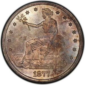 1877 S TRADE DOLLAR PCGS MS 64  CAC GREAT EYE APPEAL
