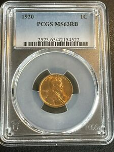 1920 P LINCOLN CENT PCGS MS63 RD