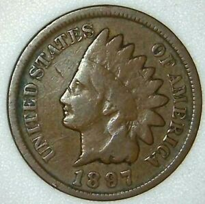 1897 P 1C INDIAN HEAD CENT 21RR0405 70 CENTS SHIPPING