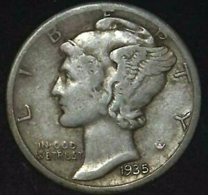 1935 S 10C MERCURY DIME 90  SILVER 21OOT0105 70 CENTS SHIPPING
