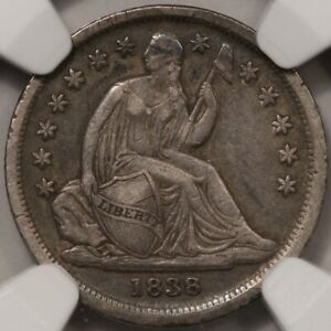 1838 SEATED LIBERTY DIME LARGE STARS NGC XF 40   WHOLESOME EXAMPLE