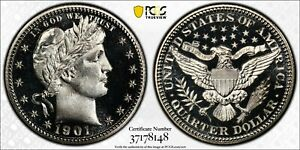 Click now to see the BUY IT NOW Price! 1901 25C PCGS PR 68CAM PROOF BARBER QUARTER. ONLY 1 HIGHER IN ALL DESIGNATIONS.