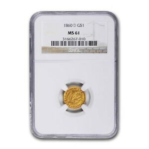 Click now to see the BUY IT NOW Price! 1860 D $1 INDIAN HEAD GOLD MS 61 NGC   SKU194633
