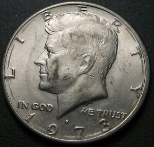 1973 D KENNEDY HALF DOLLAR WITH DOUBLING ON THE REVERSE   12 PHOTOS