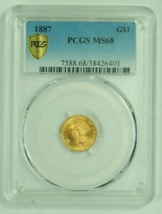Click now to see the BUY IT NOW Price! 1887 GOLD DOLLAR TYPE 3 INDIAN PRINCESS PCGS MS68 MS 68 TOP POP NONE FINER
