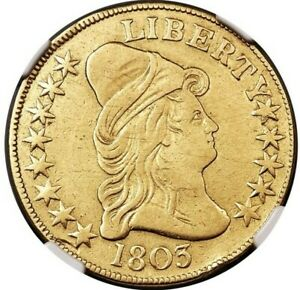 1803 DRAPED BUST 10.00 GOLD EAGLE BD 3 R. 4 SMALL STARS NGC GRADED VF DETAILS