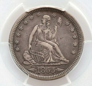 1855 P PCGS XF40 ARROWS AT DATE LIBERTY SEATED QUARTER DOLLAR LY FINE
