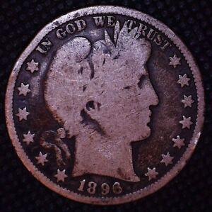 1896 O BARBER SILVER HALF DOLLAR NEW ORLEANS MINT BETTER DATE 075