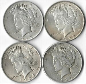 LOT OF 4 PEACE SILVER DOLLARS 1922 P 1923 P 1924 P 1925 P   HIGHER GRADES