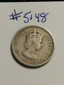 1955 EASTERN CARIBBEAN STATES 25 CENTS COIN QE2 EMPRESS EFFIGY
