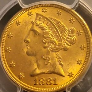 1881 CORONET HEAD GOLD $5 HALF EAGLE PCGS MS62 CERTIFIED COIN