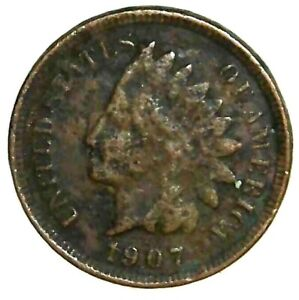1907 P 1C INDIAN HEAD CENT 19LOC0714 70 CENTS SHIPPING