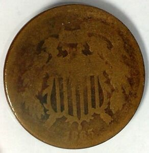 1865 P 2C COPPER TWO CENT PIECE 17HHA1212 70 CENTS SHIPPING