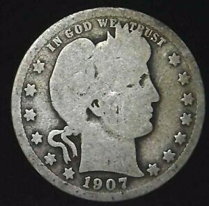 1907 P 25C BARBER QUARTER 90  SILVER 21CCH0226  70 CENTS SHIPPING