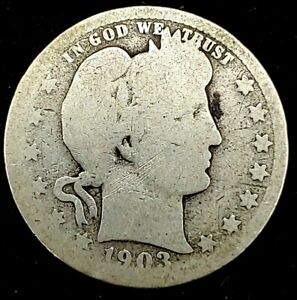 1903 P 25C BARBER QUARTER 90  SILVER 20UOH1024   70 CENTS SHIPPING
