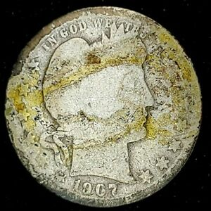 1907 O 25C BARBER QUARTER 90  SILVER 20UUL0423   70 CENTS SHIPPING