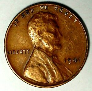 1941 P 1C LINCOLN WHEAT CENT XF AU 19OC0203 70 CENTS SHIPPING
