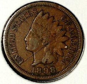 1898 P 1C INDIAN HEAD CENT 17RR1905 70 CENTS SHIPPING