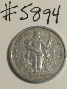 1949 NEW CALEDONIA 1 FRANC COIN
