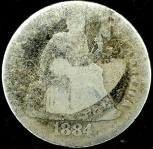1884 P 10C SEATED LIBERTY DIME 90  SILVER 20SSC0814 70 CENTS SHIPPING