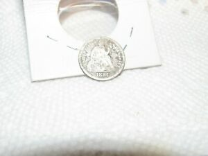 SILVER 1884 PHILADELPHIA MINT SILVER SEATED LIBERTY DIME  OLD COIN