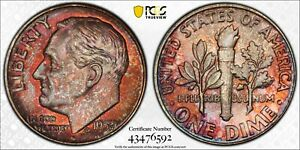 1957 ROOSEVELT DIME PCGS MS66 DUAL RED TONED