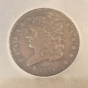 1835 CLASSIC HEAD HALF CENT ICG AU50 GREAT EYE APPEAL STRONG STRIKE