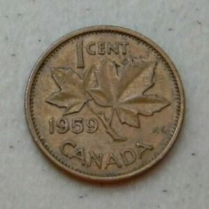 1959 CANADIAN PENNY ONE CENT FROM COIN COLLECTION CANADA 1 CENT