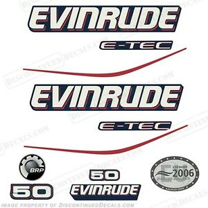 Evinrude 50 hp ETEC outboard engine decals sticker set reproduction White Cowl
