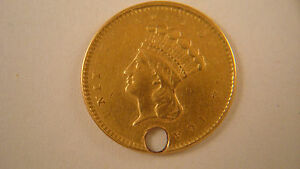 1856 $1 $1.00 INDIAN PRINCESS HEAD GOLD   HOLED   UNGRADED  B8LR