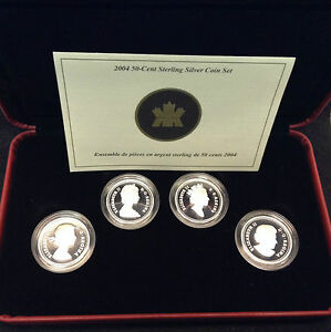 Click now to see the BUY IT NOW Price! 2004 CANADA 50 CENT 4 COIN STERLING SILVER QUEEN ELIZABETH II EFFIGY SET