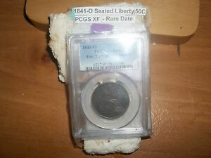 1841 0 SEATED LIBERTY SILVER DOLLAR  PCGS XF
