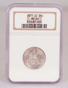 Click now to see the BUY IT NOW Price! NGC MS 66 1877 CC SEATED LIBERTY QUARTER BLAST WHITE GEM